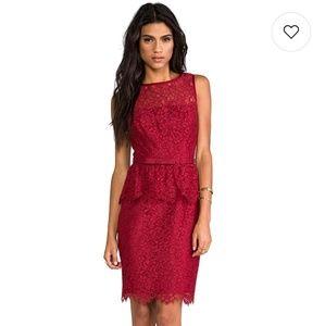 Trina Turk Laurel Lace Peplum Dress Oxblood Red